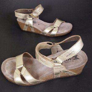Mephisto 38 Gold Low Wedge Cork Sandals Comfort